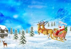 Санта-Клаус, олени, сани, подарки, рождество, праздник, дом, горы, обои для рабочего стола, HD