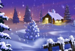Новогодние елки, ночь, дома, фонари, праздник, новый год…