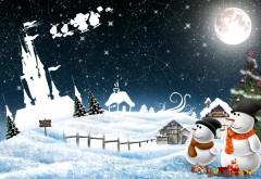 Скачать новый год, снеговики, ночной, приветствие, праздник, рождество, обои HD