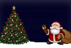 HD обои, Санта-Клаус, елка, ночь, колокол, рождество, праз…