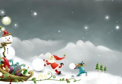 HD обои, Дед Мороз, Рождество, фоны, дух, сани, Новый год, �…