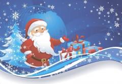 Санта-Клаус, подарки, дерево, планета, снежинки, HD обои