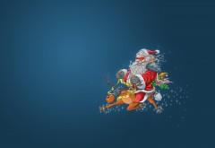 HD обои, Санта-Клаус, олени, эльф, полет, лицо, маски, рожд…
