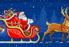 HD обои, новый год, рождество, санта, Клаус, сани, олени, п…