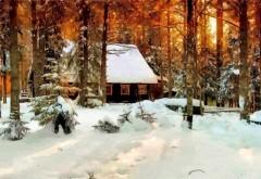 HD обои, Изобразительное искусство, Зимний Лес, Снег, Природа, пейзаж