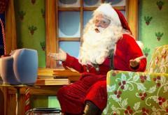 HD обои, Санта-Клаус, удивление, кресло, телевизор
