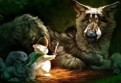Рисованные обои кролики против волка