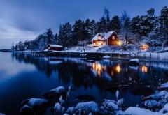 Зимний вечер, Лес, Ночь, озеро, горы, снег, обои на рабоч�…