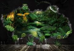 Интересный рисунок слияния города и природы