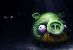 Angry birds, рисованные обои,фэнтези игра, свинья, бояться темноты, картинки