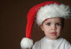 Ребенок, Санта-Клауса в шляпе, ожидание, лицо, глаза, ма�…
