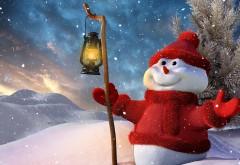 Фоны, новый год, рождество, снеговик, фонарь, дерево, сн�…