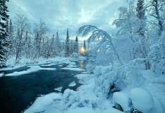 Зимняя река, природа, деревья, пейзаж, снег, зима, обои ф…