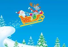 Новый год, рождество, дед мороз, олень, полет, обои, фоны…