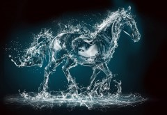 Креативные обои, Водная лошадь, абстрактные, капли воды, картинки