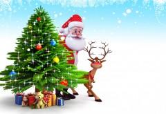 Елка, картинки, Санта-Клаус, фоны, Новый год, олененок, о…