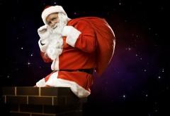 Скачать Санта-Клаус, мешок, подарки, труба, полночь, Рож…