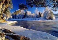 Вода, пейзаж, природа, снег, деревья, обои для рабочего �…