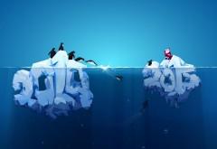 Айсберг, пингвины, лед, Новый год, зима, океан, Дед мороз…