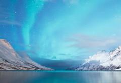 Полярные горы, Северное сияние, обои для рабочего стол�…