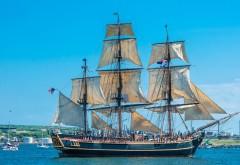 Канада, корабль, парус, Галифакс, море, заставки
