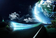Полет от земли космические обои
