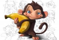 обезьяна держит банан