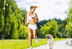 женщина, бег, собака, физическая активность