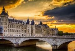 Париж, Франция, Консьержери мост, Закат, реки, картинки
