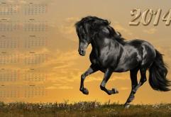 Календарь с годом лошади