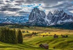Природа, горы, деревья, облака, Альпы, Италия, заставки