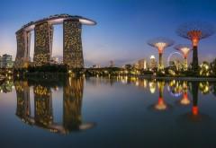 Сингапур, Город, портовые сооружения, ночь, бесплатно, фото