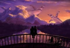 Романтическая пара, мост, закат, искусство