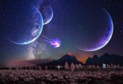 пространство, 3D, искусство, блеск, ночь