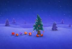 прогулка, Рождественская елка, подарочные коробки, снег, ноги