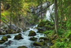 лесная речка, водопад, скалы, пейзаж, картинки, бесплат�…