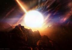 Планета, звездный свет, горы для стола обои