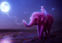 Маленькая девочка на розовом слоне