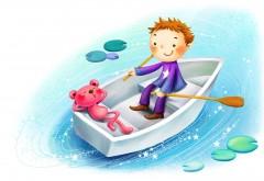Мальчик с плюшевым мишкой в лодке рисованные заставки