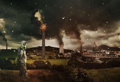 горящий город, разрушенный городок, заставки