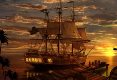 пиратский корабль, закат, море, бухта