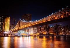 Мост Куинсборо ночью Мост в Нью-Йорке широкоформатные …