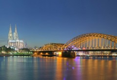 Кельн, Германия, Ночные огни, мост, река, фоны