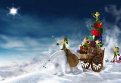 Зеленые эльфы везут воз подарков на белом медведе