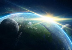 Космос, Планета Земля, Атмосфера, звезды, луна, Солнечн�…