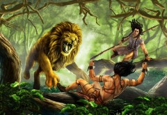 человек борющийся со львом тарзан обои на рабочий стол