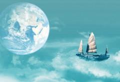 парусник, плавающий на облака