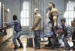 смешно грабители банка в ожидание ограбить стоят в очереди