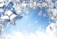 Новогодние фоны, белые колокольчики и снежинки