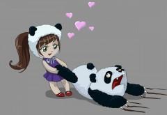 смешно, девочка, любовь, панда